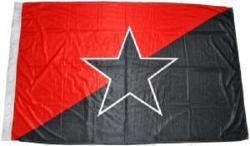 Schwarz/Rote Fahne mit schwarzem Stern